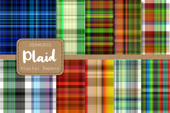 Print on Demand: Seamless Plaid Tartan Fabric Paper Set 1 Graphic Backgrounds By Prawny