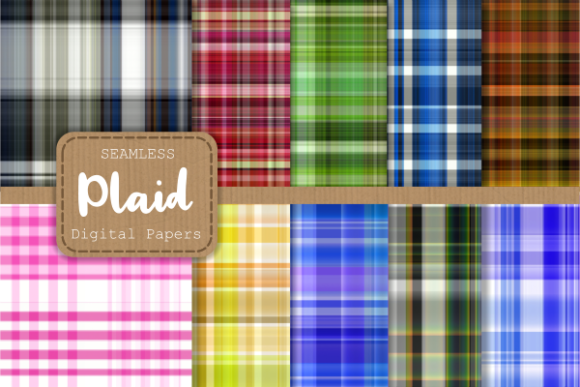 Print on Demand: Seamless Plaid Tartan Fabric Paper Set 2 Graphic Backgrounds By Prawny