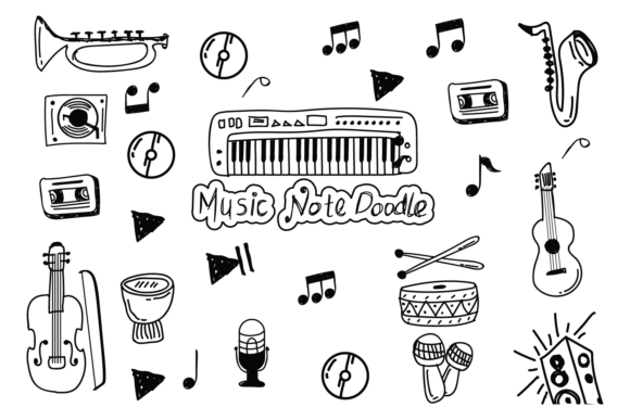Download Free Set Of Music Doodle Handdrawing Vector Graphic By Bayfont for Cricut Explore, Silhouette and other cutting machines.