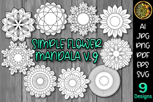 Print on Demand: Simple Flower Mandala Set-9 Graphic Crafts By V-Design Creator