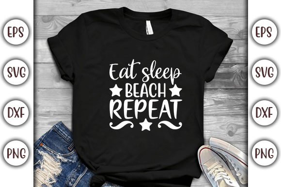Download Free Summer Beach Design Eat Sleep Beach Graphic By Graphicsbooth for Cricut Explore, Silhouette and other cutting machines.