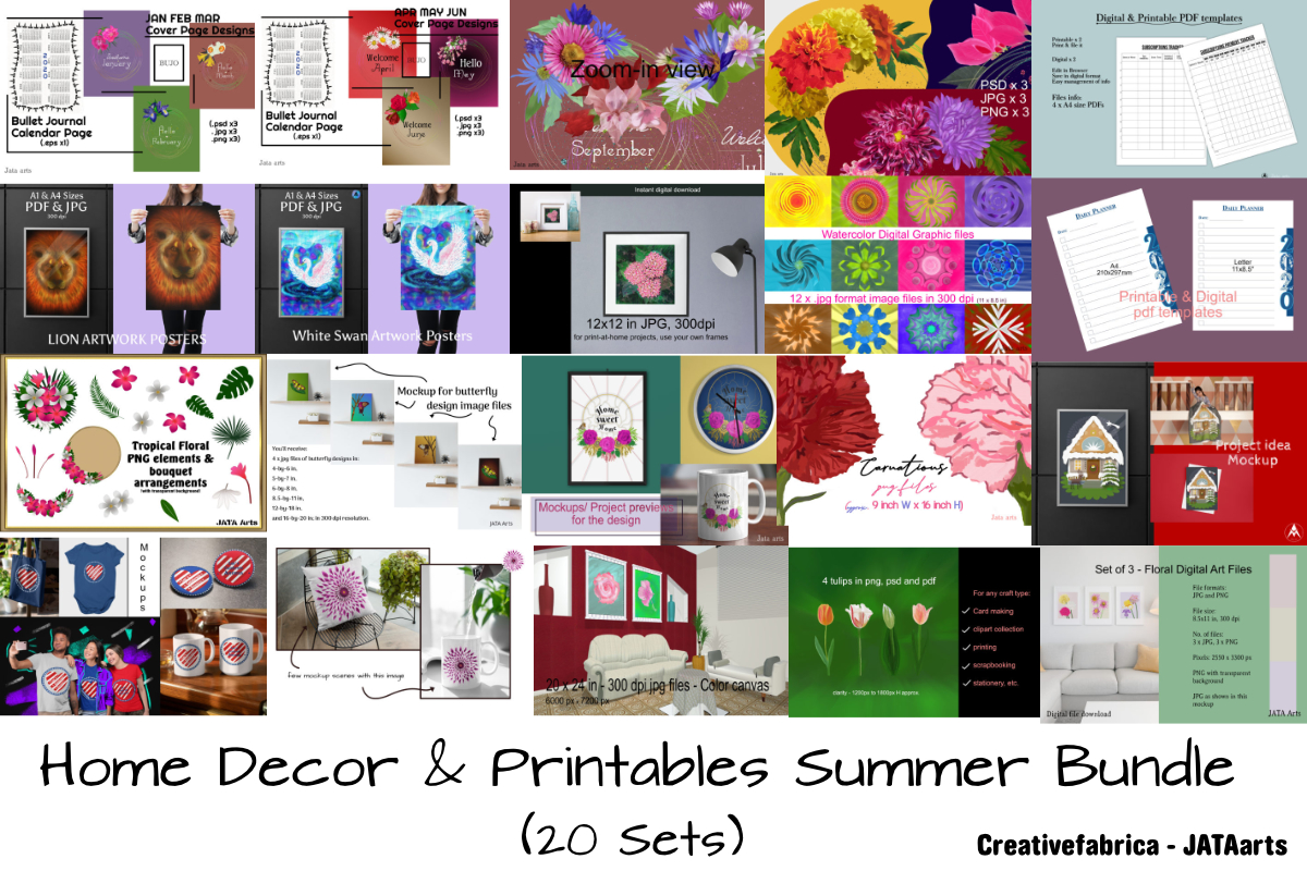Download Free Summer Home Decor Printables Bundle Bundle Creative Fabrica for Cricut Explore, Silhouette and other cutting machines.