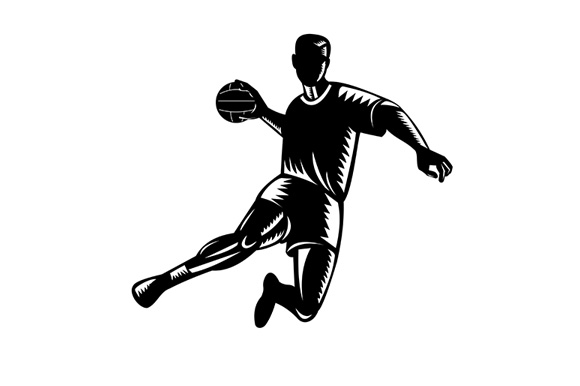 Download Free Team Handball Player Jumping Graphic By Patrimonio Creative for Cricut Explore, Silhouette and other cutting machines.