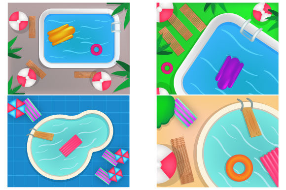 Download Free Top View Swimming Pool Cute Set Bundle Graphic By Iop Micro for Cricut Explore, Silhouette and other cutting machines.