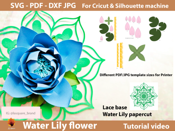 Download Free Water Lily Paper Flowers Template Graphic By Lasquare Info for Cricut Explore, Silhouette and other cutting machines.