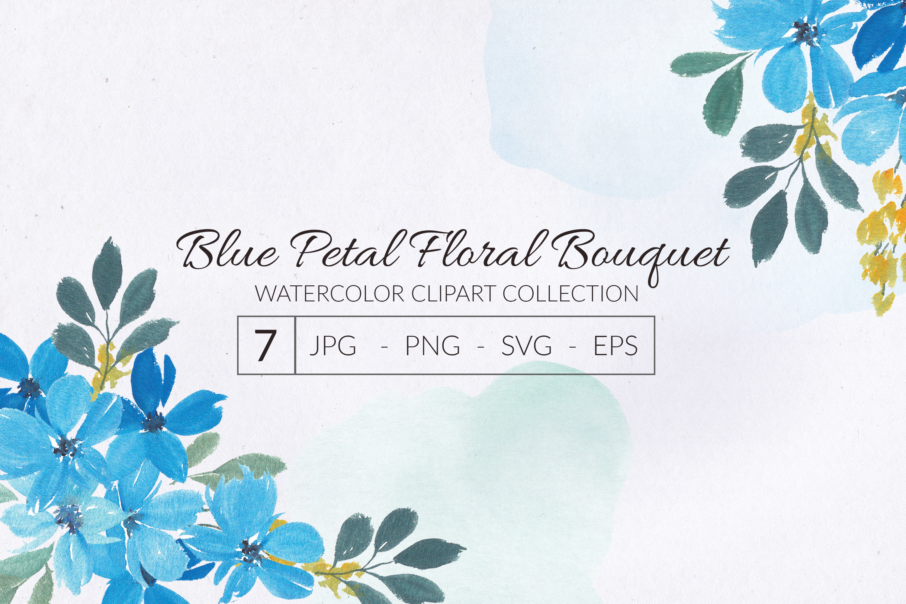 Download Free Watercolor Blue Petal Flower Bouquet Graphic By Elsabenaa for Cricut Explore, Silhouette and other cutting machines.