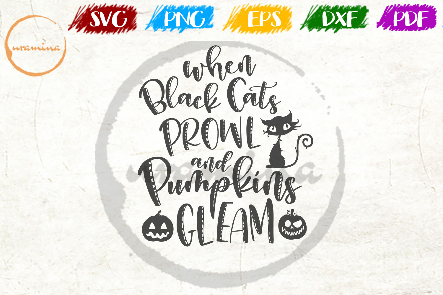 Download Free When Black Cats Prowl And Pumpkins Graphic By Uramina Creative Fabrica for Cricut Explore, Silhouette and other cutting machines.