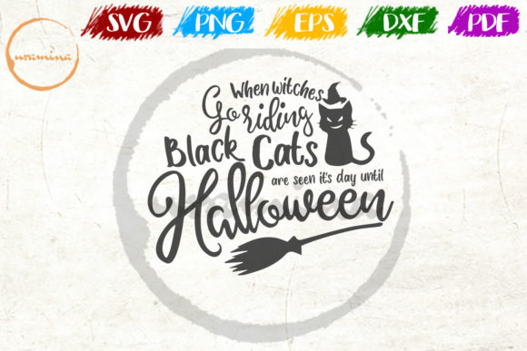 Download Free When Witches Go Riding Black Cats Graphic By Uramina Creative for Cricut Explore, Silhouette and other cutting machines.