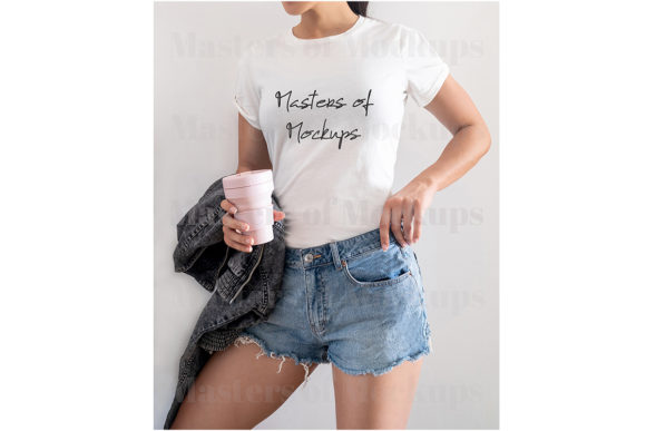 White T-Shirt Model Mockup Bella Canvas Gráfico Mockups de Productos Por Masters of Mockups