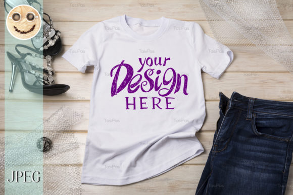 Download Free White Womens Cotton T Shirt Mockup Graphic By Tasipas Creative for Cricut Explore, Silhouette and other cutting machines.