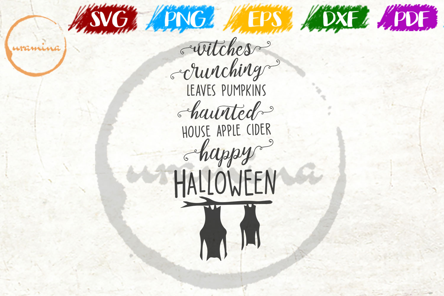 Witches Crunching Leaves Pumpkins Graphic By Uramina Creative