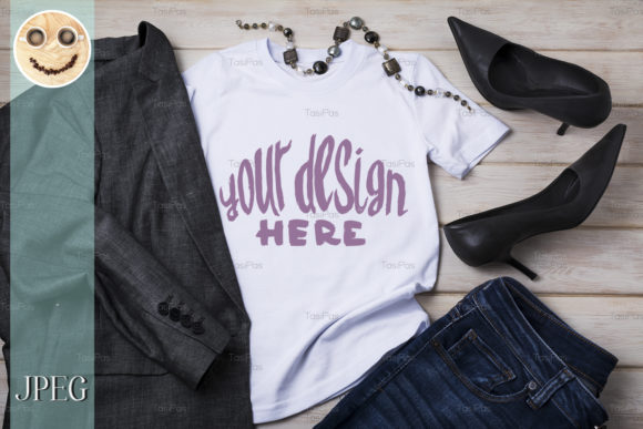 Download Free Women S T Shirt Mockup With Blazer Graphic By Tasipas Creative for Cricut Explore, Silhouette and other cutting machines.