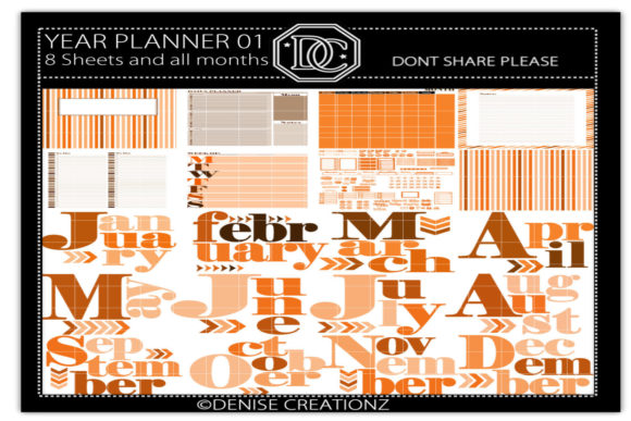 Download Free Year Planner Book Brown Orange Graphic By Denise Creationz for Cricut Explore, Silhouette and other cutting machines.