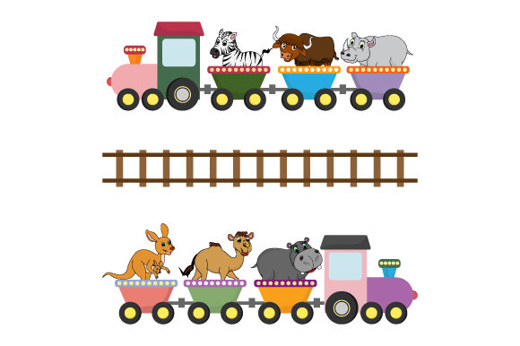 Download Free Adorable Animal On The Train Graphic By Curutdesign Creative for Cricut Explore, Silhouette and other cutting machines.