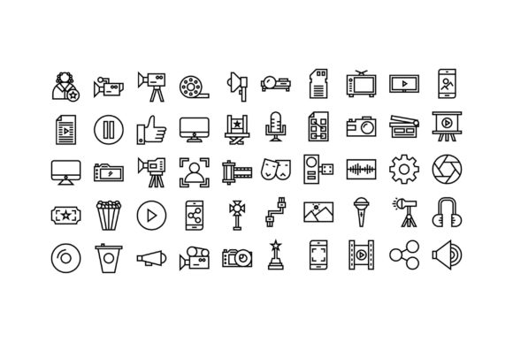 Film Production Black and White Line Ico Graphic Icons By muhammadfaisal40