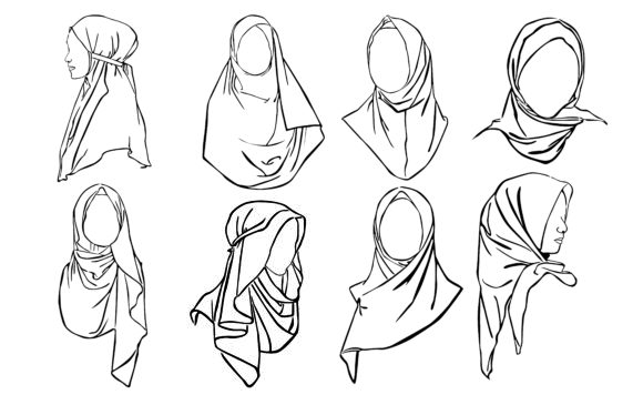 Download Free Hijab Woman With Line Art Style Bundle Graphic By Arief Sapta for Cricut Explore, Silhouette and other cutting machines.