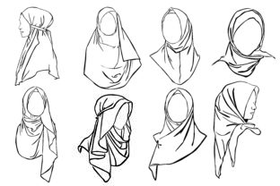 Print on Demand: Hijab Woman with Line Art Style Bundle Graphic Crafts By Arief Sapta Adjie