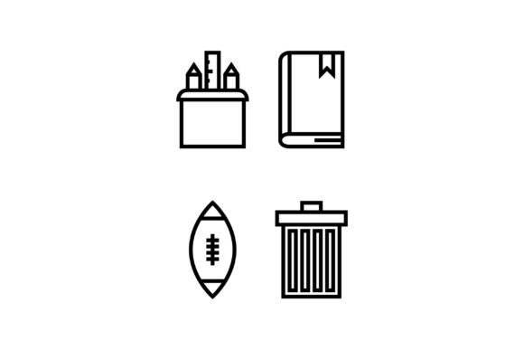 Trash Black and White Line Icon Graphic Icons By muhammadfaisal40