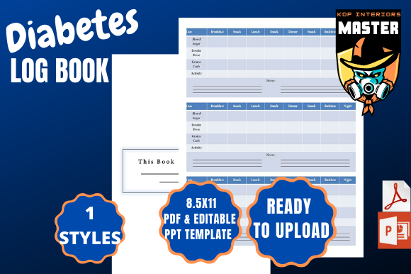 Download Free Diabetes Log Book Graphic By Kdp Interiors Master Creative Fabrica for Cricut Explore, Silhouette and other cutting machines.