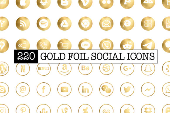 Print on Demand: 220 Gold Foil Social Media Icons Graphic Icons By stonehagdesign