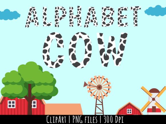 Alphabet Cow ClipArt Set Graphic Illustrations By Miss Cherry Designs