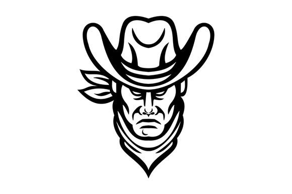 Print on Demand: American Cowboy Head Sports Mascot Graphic Illustrations By patrimonio