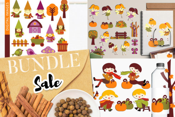 Print on Demand: Autumn Gnome and Fairy Bundle Graphic Illustrations By Revidevi