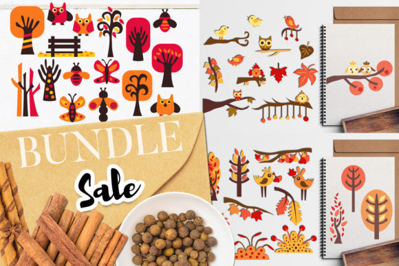 Download Free Autumn Nature Bundle Graphic By Revidevi Creative Fabrica for Cricut Explore, Silhouette and other cutting machines.