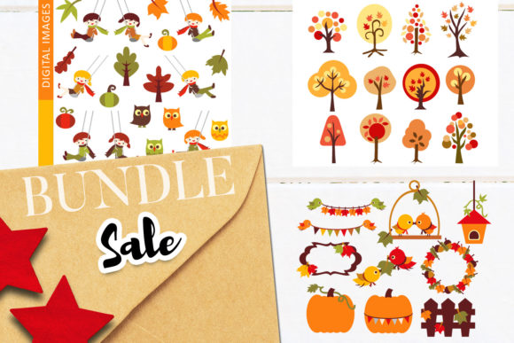 Print on Demand: Autumn Tree and Swing Bundle Graphic Illustrations By Revidevi