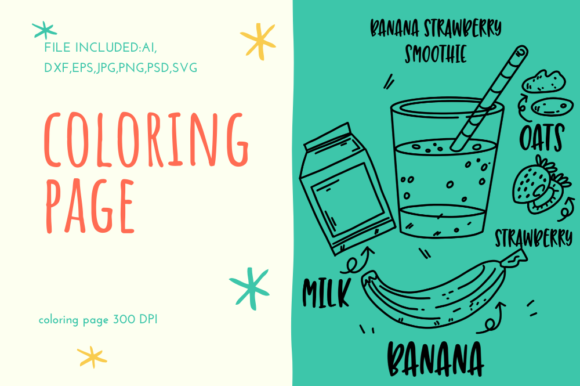 Print on Demand: Banana Strawberry Smoothie Collection Graphic Coloring Pages & Books Adults By stanosh