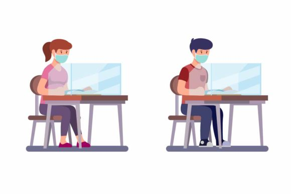 Download Free Boy And Girl Sitting And Study Wear Mask Graphic By Aryo Hadi for Cricut Explore, Silhouette and other cutting machines.