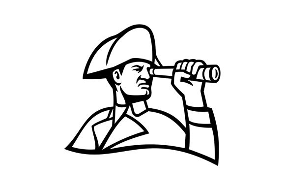 Download Free British Admiral Looking Through Telescope Graphic By Patrimonio for Cricut Explore, Silhouette and other cutting machines.