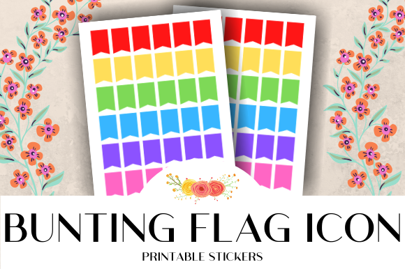 Print on Demand: Bunting Flag Printable Stickers Graphic Crafts By atlasart
