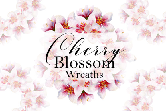 Print on Demand: Cherry Blossom Wreaths Graphic Illustrations By Andreea Eremia Design