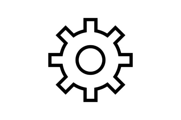 Cogwheel Black and White Line Icon Graphic Icons By muhammadfaisal40