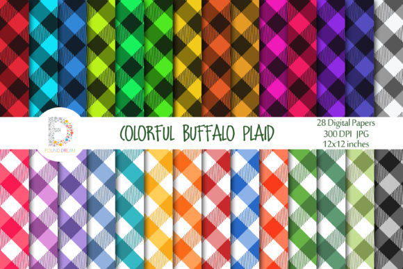 Print on Demand: Colorful Buffalo Plaid Pattern Papers Graphic Backgrounds By FounDream