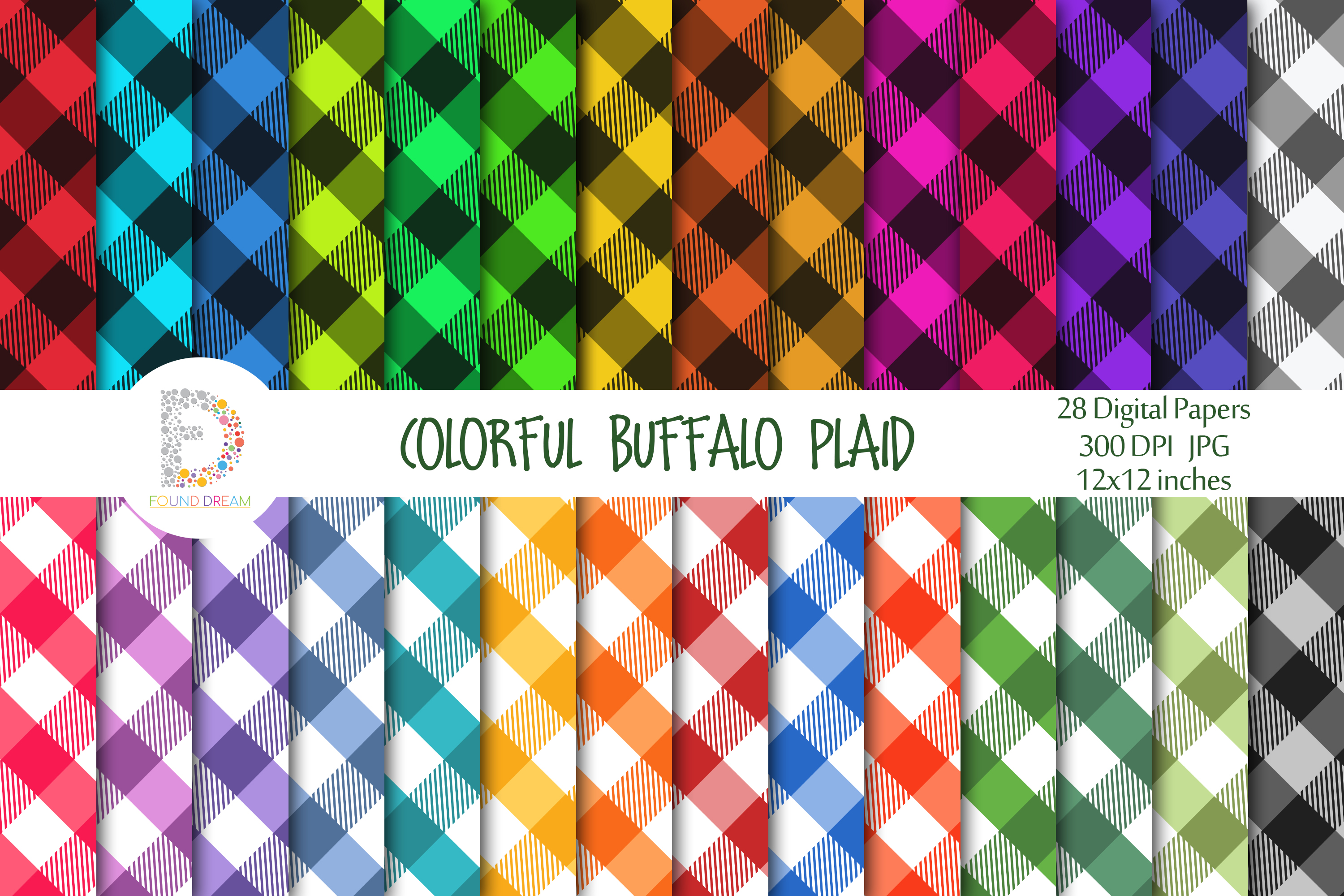 Download Free Colorful Buffalo Plaid Pattern Papers Graphic By Foundream for Cricut Explore, Silhouette and other cutting machines.