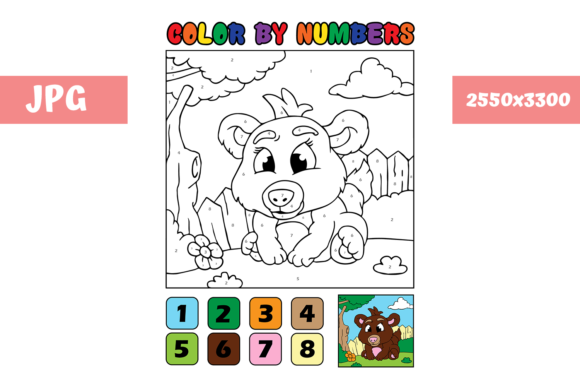 Print on Demand: Coloring Page - Color by Numbers Bear Graphic Coloring Pages & Books Kids By MyBeautifulFiles - Image 1