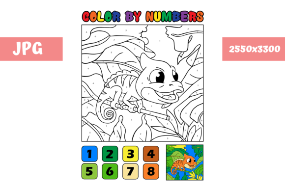 Print on Demand: Coloring Page Color by Numbers Chameleon Graphic Coloring Pages & Books Kids By MyBeautifulFiles