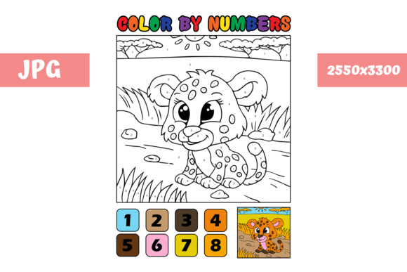 Print on Demand: Coloring Page - Color by Numbers Cheetah Graphic Coloring Pages & Books Kids By MyBeautifulFiles
