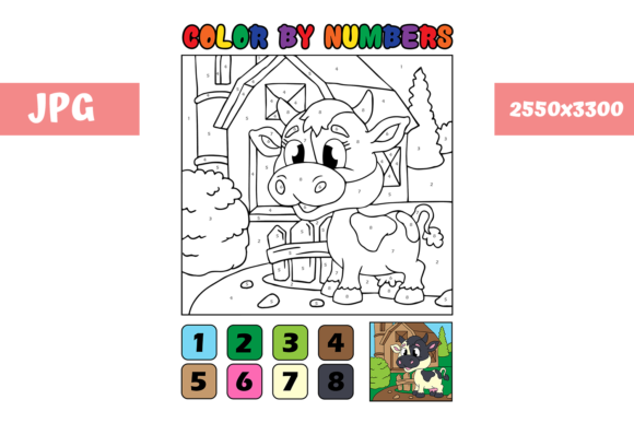Print on Demand: Coloring Page - Color by Numbers Cow Graphic Coloring Pages & Books Kids By MyBeautifulFiles - Image 1