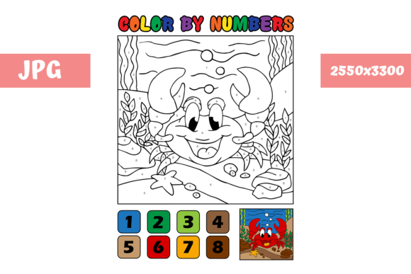 Print on Demand: Coloring Page - Color by Numbers Crab Graphic Coloring Pages & Books Kids By MyBeautifulFiles - Image 1