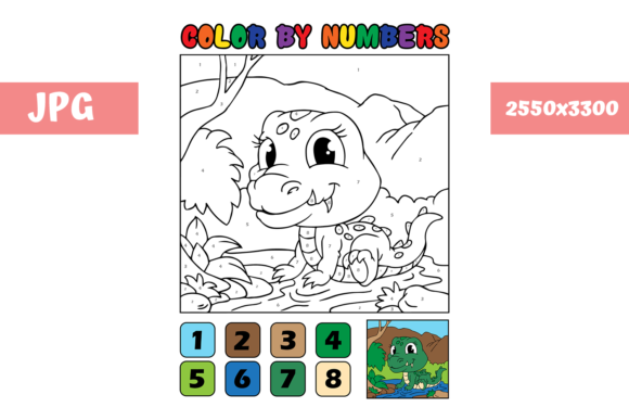 Print on Demand: Coloring Page - Color by Numbers Croco Graphic Coloring Pages & Books Kids By MyBeautifulFiles
