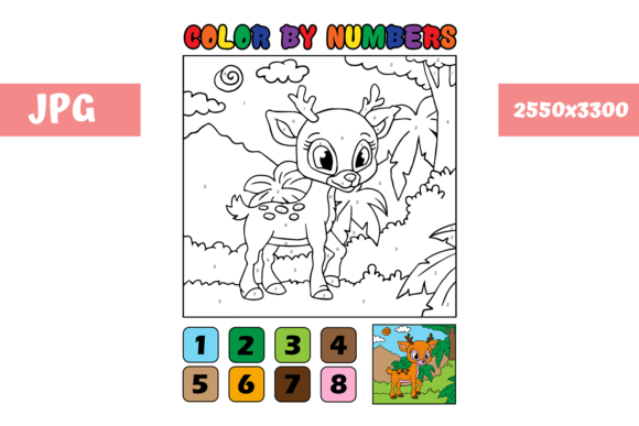 Print on Demand: Coloring Page - Color by Numbers Deer Graphic Coloring Pages & Books Kids By MyBeautifulFiles - Image 1