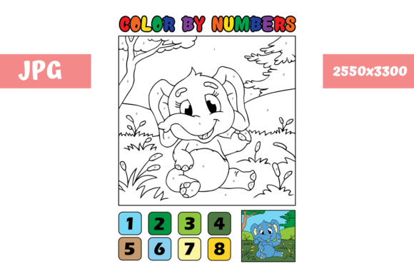 Print on Demand: Coloring Page Color by Numbers Elephant Graphic Coloring Pages & Books Kids By MyBeautifulFiles