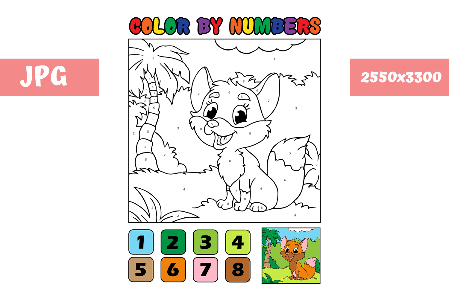Download Free Coloring Page Color By Numbers Fox Graphic By Mybeautifulfiles for Cricut Explore, Silhouette and other cutting machines.