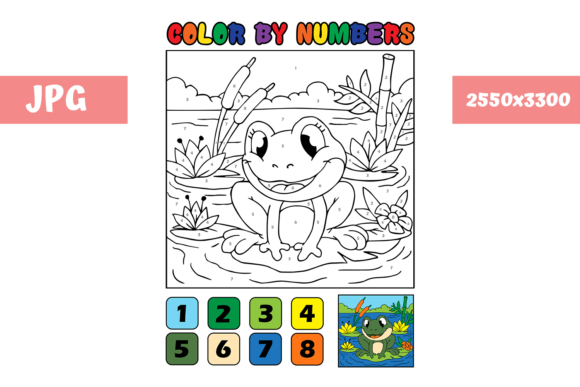 Print on Demand: Coloring Page - Color by Numbers Frog Graphic Coloring Pages & Books Kids By MyBeautifulFiles - Image 1