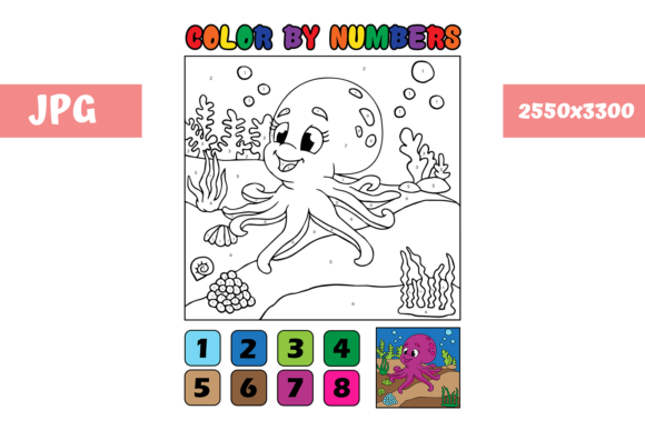 Print on Demand: Coloring Page - Color by Numbers Octopus Grafik Ausmalseiten & Malbücher für Kinder von MyBeautifulFiles