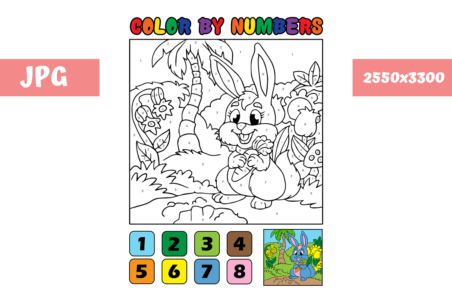 Download Free Coloring Page Color By Numbers Rabbit Graphic By for Cricut Explore, Silhouette and other cutting machines.