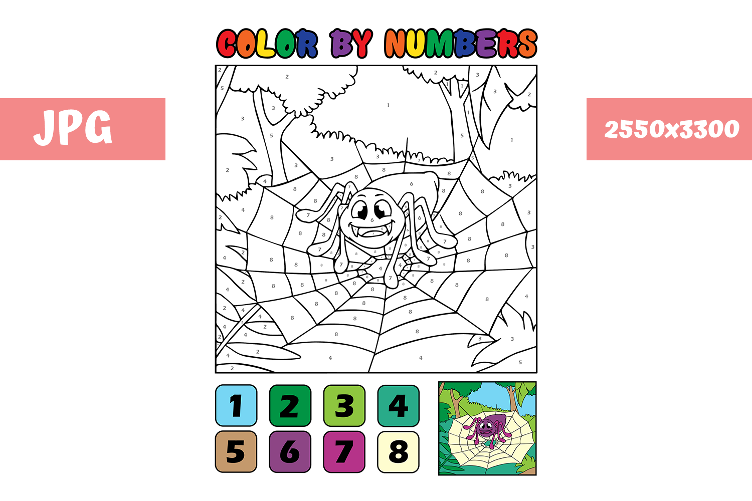 Download Free Coloring Page Color By Numbers Spider Graphic By Mybeautifulfiles Creative Fabrica for Cricut Explore, Silhouette and other cutting machines.